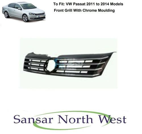 For VW Volkswagen Passat - Front Grill With Chrome Trim Moulding - 2011 to 2014